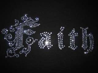 FAITH~Iron On Clear Crystal RHINESTONE Sparkle Transfer