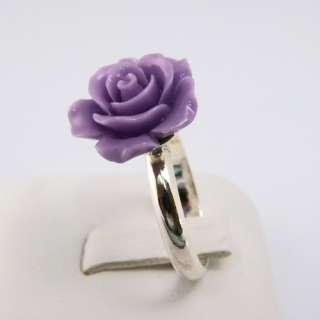Violet Rose Flower 925 Sterling Silver Fashion Ring Sz7  