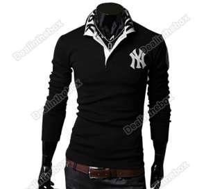Mens Stylish Polo shirts Slim Fit long Sleeve Casual T Shirt Tops Fall
