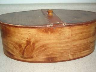 VTG PAPER MACHE OVAL SEWING BOX HINGED TOP WOOD GRAIN