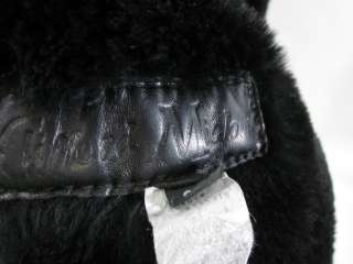 CLIFFORD MICHAEL Black Suede Shearling Long Coat Sz L