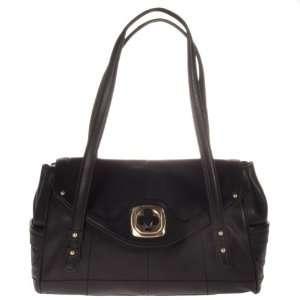 B. Makowsky Claudine Large Black Leather Satchel Bag