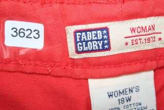 Faded Glory sz 18W Womens Plus Orange Shorts NQ56