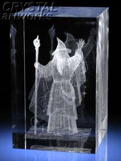 WHITE MAGICIAN* 3D Laser Etched Crystal Art F1043s