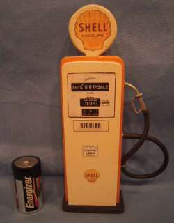 Tall Shell Toy Gas Pump Wood With Shell Labels No Reserve