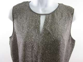 CALVIN KLEIN Gray Silk Print Sleeveless Blouse Shirt 10