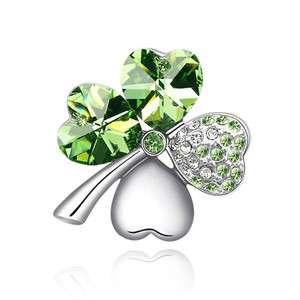 T4571 Swarovski Genuine Crystal Green Four Leaves Clover Platinum