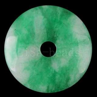 45MM Green Jade Circle Gemstone Bead Pendant LK193
