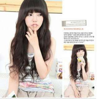 FASHION CUTE long hair BLACK BROWN curly WAVE lady FULL wig COSPLAY