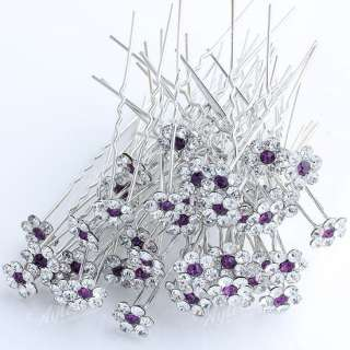 50x Purple Flower Silver Tone Crystal Hair Pins Clips