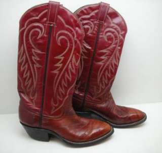 Cowtown Eel Skin Dark Red Cowboy Boots Mens 6 Women 7