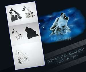 Airbrush Stencil Template 5 Steps AS 001 L Size 9,05 x 6,30