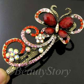 SHIPPING antiqued rhinestone butterfly hair clamp clip wedding