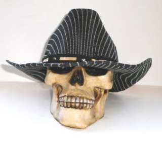 MENS WESTERN COWBOY RODEO BLACK WHITE PIN STRIPES HAT B