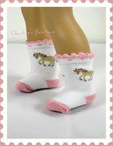 White Socks w/Horse fit American Girl & 18 Dolls