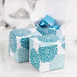 Favor Candy Floral Turquoise Teal Aqua White Square Gift Boxes
