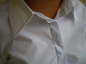 AZIZA White Cotton Social Dress Shirts Womens Size M