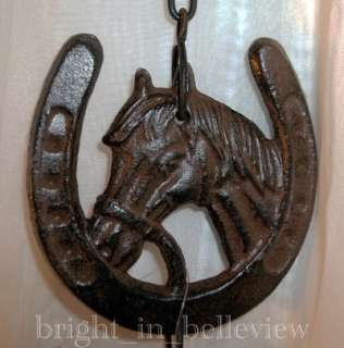 Rustic Cast Iron Bell Chime w/ Horse shoe & Horse Head ~ Proceeds