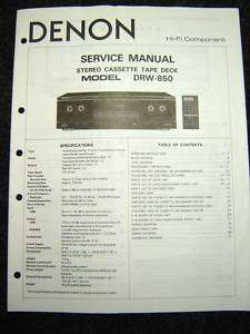 Original Denon DRW 850 Service Manual