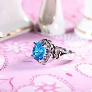 Fashion Jewelry Round Cut 18K White Gold Plated Aquamarine Ladies Ring