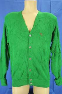NEW 60s Steeplechase Bright Kelly Green Arcylic Cardigan Sweater Small