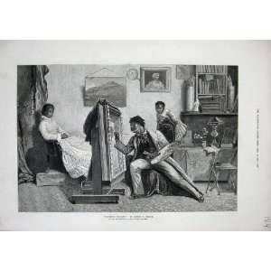1878 Dudley Gallery Coloured Artist Man Painting Lady: Home & Kitchen