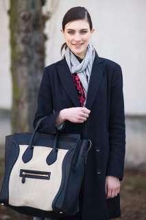 Gossip Girl Bag PU Leather Luggage Tote Smile Handbag Black / White
