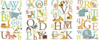 Educational Animals Alphabet Kids Wall Sticker Decals