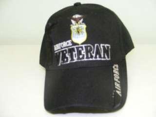 USAF AIR FORCE VETERAN BLACK MILITARY CREST LOGO BALL CAP HAT