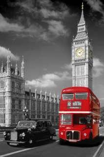 GRANDE CARTEL de LONDRES BIG BEN, de AUTOBÚS y de TAXI 36x24