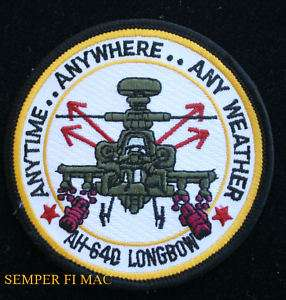 AH 64 APACHE US ARMY HELICOPTER PATCH ANYWHERE ANYTIME