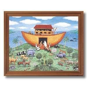 Noahs Ark Animals Kids Room Religious Picture Oak Framed