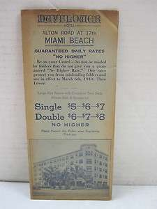 Vintage Mayflower Hotel Miami Beach, Florida Brochure