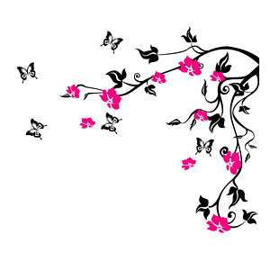 Butterfly Vine Flower Wall Stickers Floral Wall Vinyl