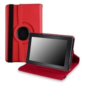 Fire 360 Swivel Leather Case Ver2 , Red