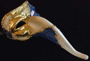 Venetian Mask Mardi Gras Drama Mens Blue and Gold