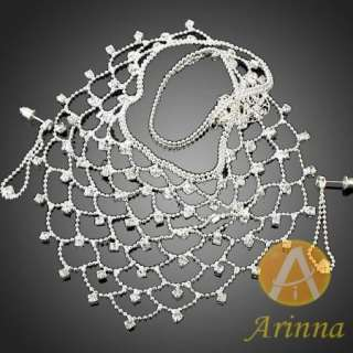ARINNA noblest fashion earrings necklace set 18K WGP Swarovski clear