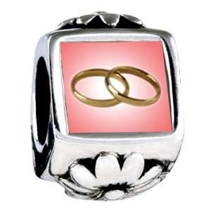 Soufeel Wedding Rings Pink and Golden Flower European