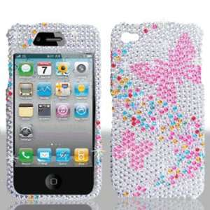Premium   Apple iPhone 4 Full Diamond Hot Pink Butterfly