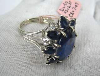 07ct Natural Untreated Ceylon Sapphire 0.50ct Diamond 14K Gold Ring
