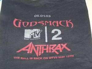 MTV2 Headbangers Ball GODSMACK ANTHRAX Concert Shirt LG