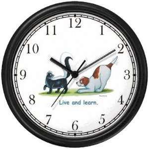 Skunk and Brown & White Dog Cartoon or Comic   JP Animal Wall Clock by