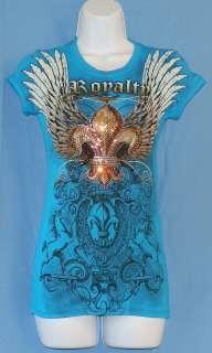 Womens T Shirt Blue Rhinestones Fleur De Lis Wings Unicorns Royalty