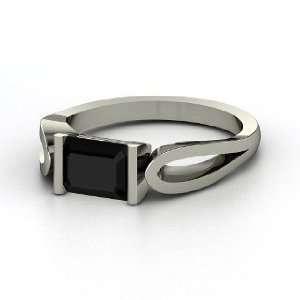 Loop de Loop Ring, Emerald Cut Black Onyx 14K White Gold