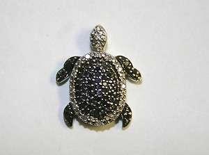 Sterling Silver Black & White Diamond Turtle Pendant
