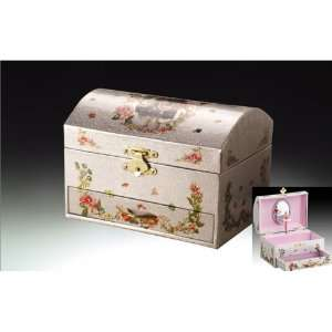 Chest Shaped White Ballerina Musical Jewelry Box With