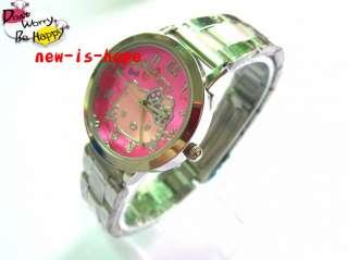 Cute HelloKitty Lady Girls stainless steel Quartz wrist watch B4