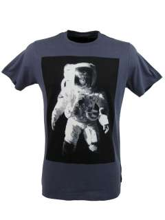 French Connection FCUK Mens T Shirt Crew Neck Monkey Astronauts Print