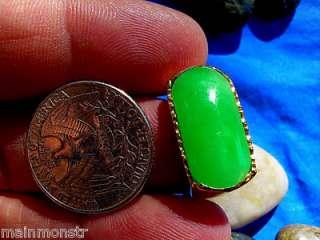 Antique 1920s Vintage Art Deco Green Jade VIVID Fine Estate Ring 18k