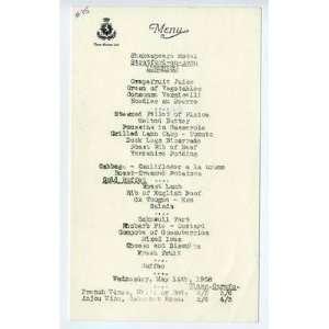 Hotel Shakespeare Luncheon Menu Stratford on Avon 1958